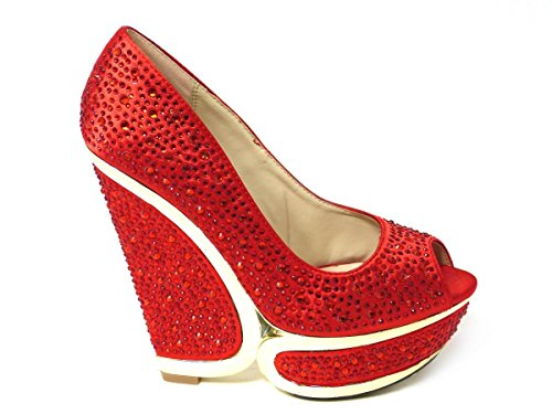 SKO'S , Mary Janes pour femme - Red (9867-5a)