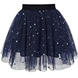 Mädchen Rock Marine Blau Perle Sterne Funkelnd Tutu Tanzen Gr. 128-134