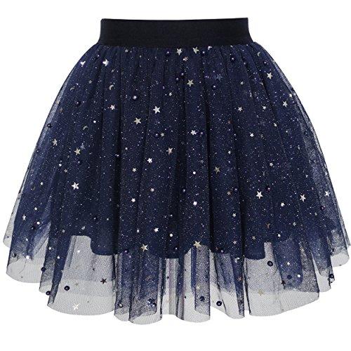 Mädchen Rock Marine Blau Perle Sterne Funkelnd Tutu Tanzen Gr. 116-122