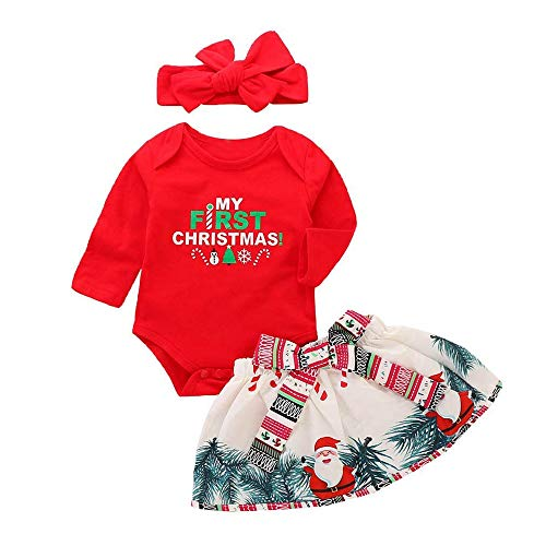 Baby Weihnachten Kostüm Set 3 Stück Neugeborene Kleidung Buchstaben Langarm T-Shirt + Santa Claus Print Princess Dress + Red ()
