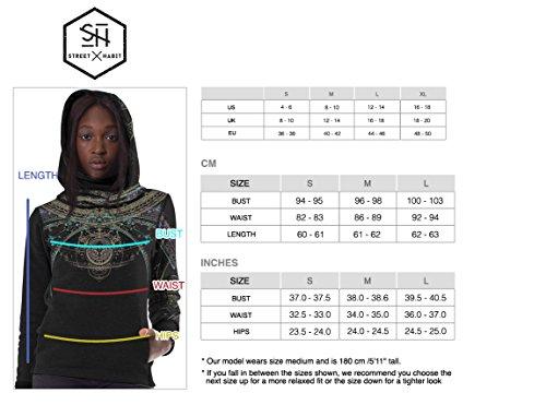 Damen Portal Hoodie Wasserfall-Ausschnitt Grafikdruck Psychodelisch Festival Pullover Schwarz