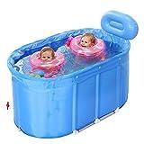 GEXING Schwimmbad Babyschwimmbecken Hausdämmung Kinderplanschbecken übergroße Schwimmkübel,Blue-110*60*60cm