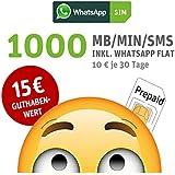 WhatsApp SIM Prepaid [SIM, Micro-SIM, Nano-SIM] - Starterpaket mit 15 EUR Guthabenwert; Option mit 1000 Einheiten für MB/MIN/SMS im 1. Monat inklusive, ohne Vertragsbindung, Surf-Geschwindigkeit: 21,6 MBit/s LTE