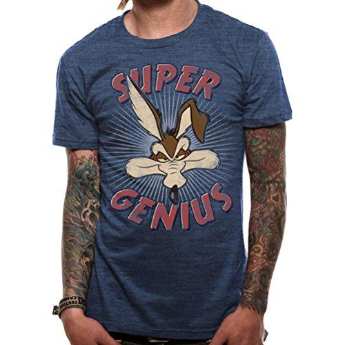 Looney Tunes Official Men's Wile E Coyote Super Genius T-Shirt - Crew Neck