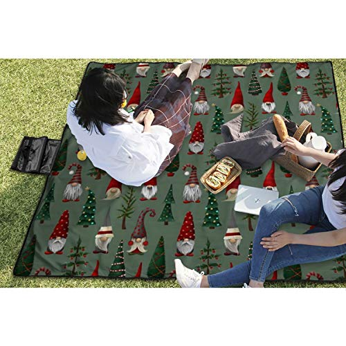 BigHappyShop Picnic Blanket Gnomes Waterproof Extra Large Outdoor Mat Camping Or Travel Easy Carry Compact Tote Bag 59