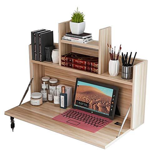 Mesas plegables Mesa abatible Pared Escritorio De Computadora Escritorio De Cama Mesa De Estudio Versátil Superior Mesa Plegable (Color : Wood Color, Size : 80 * 46 * 40cm)
