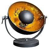Moderne Tischlampe STUDIO 40 cm schwarz gold E27 Lampe mit Blattgold Tischleuchte Studiolampe schwenkbar Wohnzimmerlampe