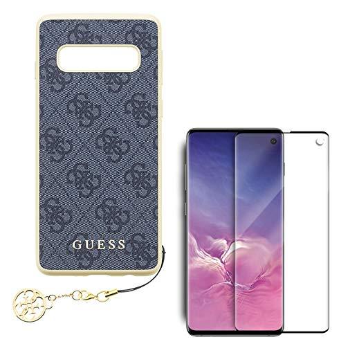 pabuTEL-B≤ 2in1-SET für Samsung Galaxy S10e | Hülle + 5D Panzerglas | Guess Charms - Hardcover (Grau) mit Anhänger | Hartglas Bildschirmschutz mit Härtegrad 9H & speziellem Sichtschutz
