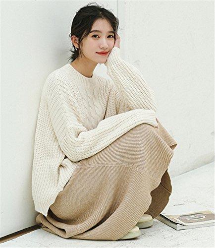 JOTHIN larghi jacquard Maglieria Tinta Unita Sweater Irregolare fasciante Pullover Elasticizzati Student Maglioni Donna Bianco