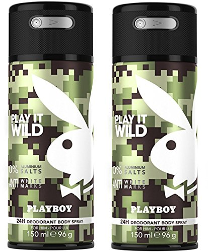 Playboy Play It Wild Deo Body Spray Mann, 2er Pack (2 x 150 ml)