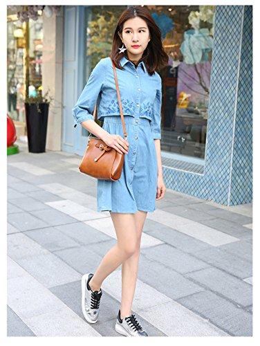 Frauen elegante Revers 3/4 Hülse gestickte Knopf lose beiläufige Denim Rand-Kleid Blau
