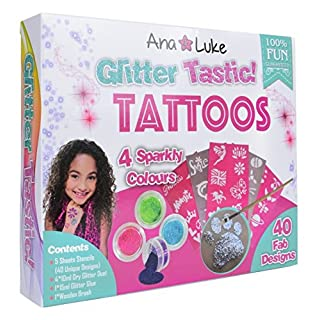 Ana and Luke Glitter Tattoos Kit, Mega Pack for Face, Body for Girls, Kids, 4 Large Pots of Glitter, 40 Adhesive Stencil Temporary Designs, Glue, Brush Perfect Party Set/ Gift for Birthday or Carnival