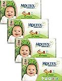 Packung mit 4 Moltex Mini Windeln Größe 2 (168 Windeln)