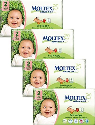 4unidades MOLTEX Mini Pañales Tamaño 2(168Pañales)