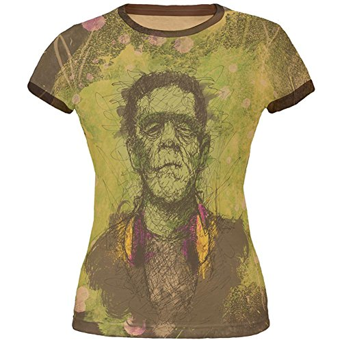 Old Glory Halloween Frankenstein Raver Horror Movie Monster Junioren Weichen Ringer T Shirt Hellbraun Braun MD (T-shirt Junioren-ringer)