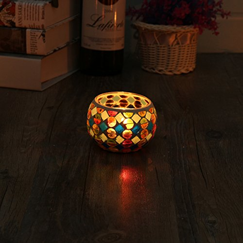 KING DO WAY Mosaic Glass Candle Holder Light Handle Tealight Candleholder Lantern Lamp Chimney Red Spot
