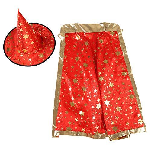 Zerodis Fancy Witch Wizard Cloak Cape Hut mit Goldenen Sternen Muster Halloween Kostüme für Kinder Halloween Cosplay(Rot)