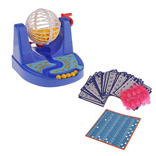 MagiDeal NEU BINGO SPIEL mit Bingotrommel Bingokarten Kugeln + Zubehör Familien Spaß Bingo Spiel Set