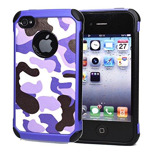 iPhone 4 hülle, iPhone 4s Holster hülle,Bookstyle Handyhülle Premium PU Leder Tasche Flip Case Brieftasche Etui Handy Schutz Hülle für Apple iPhone 4 / 4s / - Rot lila 2