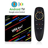 ETbotu Android TV Box H96 Max+ Android 8.1 Smart TV Box RK3328 Quad-Core 64bit Cortex-A53 4GB 32GB Penta-Core Mali-450 up to 750Mhz+ Full HD/H.265 / Dual WiFi Smart TV Box Support Voice Control British regulations