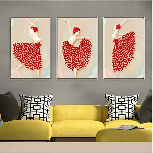 LYFCV Moderne Kunst Malerei Stil Kreative Figur Tanz Kostüm Floral Ornament Bild Drucken Mädchen Zimmer Wand DecorCanvas Poster 50x70 cm Kein Rahmen (Modernen Zeitgenössischen Tanz Kostüm)