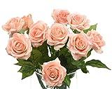 FiveSeasonStuff 10 Steli Tocco Realistico Seta Rose 'Petali Sentire e Guardare come Rose Freschi' di Fiore Artificiale Bouquet, Ideale per Matrimoni, Sposa, Partito, Casa, Studio Décor Fai da te (#7 Giallo)