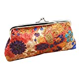 Embroidery Flower Handbag Hasp Coin Purse Pouch Wallet Clutch Bag (Orange)