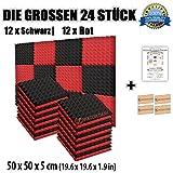 Super Dash Kombination (24 Pack) von 50 X 50 X 5 cm Rot & Schwarz Pyramide Akustikschaumstoff Noppenschaumstoff Akustik Dämmmatte Schallisolierung Schaumstoff Polster Fliesen SD1034 (ROT & SCHWARZ)