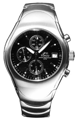 Gino Franco Men's Round Stainless Steel Chronograph Bracelet Watch #991BK