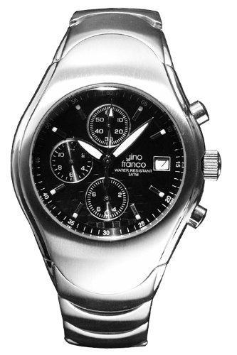 Gino Franco Men's Round Stainless Steel Chronograph Bracelet Watch #991BK