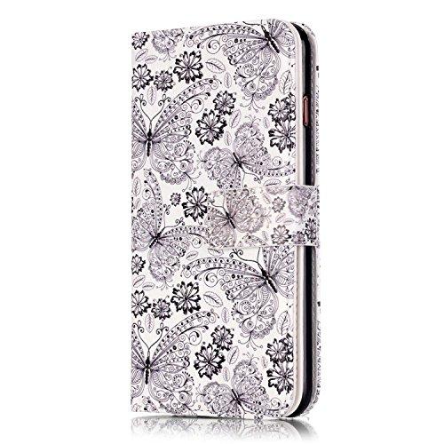 iPhone 6 Hülle,iPhone 6S Ledertasche - Felfy luxury Book Style PU Leder Brieftasche Flip Cover in Lederoptik mit Standfunktion Karteneinschub und Magnetverschluß Farbe Retro-Muster Schmetterling Leopa Schwarzer Schmetterling