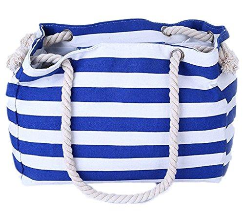Minetom Donne Grande Spiaggia Borsa Shopper Handbag Classico Striscia Borsa Reale Blu (Edizione Limitata Nautico Stampa)