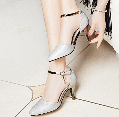 Beiläufige weibliche hochhackigen Sandalen Frauen Sandalen Sommer Sandalen weiblichen Perle metallischen Sandalen und Pantoffeln White