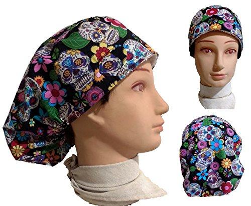 Chirurgische Kappe. Frau Mexikanische Schädel. für lange Haare, Chirurgie, Zahnarzt, Tierarzt, Küche usw. Handtuch vorne, perfekte Passform und passt alle Haare. Handmade