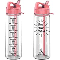 Drin'Kup BPA Free 900ml Water Bottle with Straw|Motivational-Times to Drink Markings/Intake Tracker
