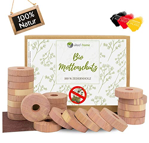 viiteo®-Home Premium 24er Set Mottenschutz aus 100% natürlichem Zedernholz Mottenringe für den Kleiderschrank ♻️ chemiefreie Mottenfalle & erstklassige Mottenabwehr mit Bio Langzeitwirkung (Zedernholz)