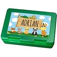 Preisvergleich für Brotdose mit Namen Adrian - Motiv Zoo, Lunchbox mit Namen, Frühstücksdose Kunststoff lebensmittelecht