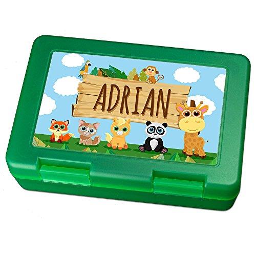Brotdose mit Namen Adrian - Motiv Zoo, Lunchbox mit Namen, Brotdose Light Green - Frühstücksdose Kunststoff lebensmittelecht
