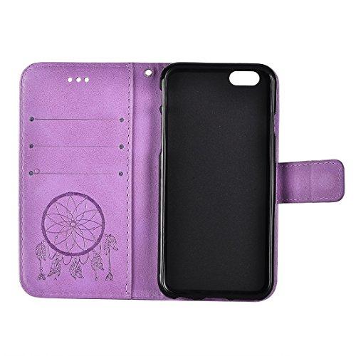 GR Für iPhone 7 Crazy Pferd PU Leder Textur Traum Fänger Druck Horizontal Flip Case mit Halter & Card Slots & Wallet & Lanyard ( Color : Purple ) Purple