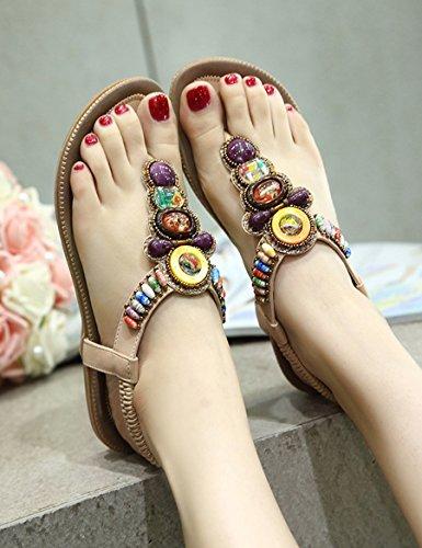 Sandales plates d'été féminin Nouvelle glisse de mots simple et sauvage Chaussons bas confortables ( Couleur : #3 , taille : EU36/UK3.5/CN35 ) #4