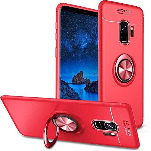BtDuck Galaxy S9 Hülle mit Ring,Ultra Slim Matt Dünn Silikon Hülle mit Metall Ring Handyhalterung Auto Magnet Ständer Bumper Case Ringhalter Hülle für Samusng Galaxy S9 Rot Rot-auto-magnet