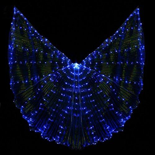 Mit Verstellbarem Stick Mehrfarbige Isis Flügel 360 Grad Frauen Led Licht Bauchtanz Große Schmetterling Stützen Leistung Professionelle Outfit Kostüm . Blue . (Tanz Mit Flügeln Lyrische Kostüme)
