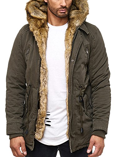 Husaria Designer Jacke Winterjacke mit Kapuze und stylischem Fell Winter Parka 1004 (S, Khaki) (Baumwolle Jacke)