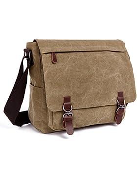 QINCAO Damen Herren Canvas Schultertasche Vintage Schultasche Canvas Umhängetasche Retro Messenger Bag