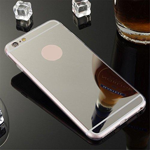 Skitic Spiegel Hülle Mirror Case für iPhone 6 Plus / 6S Plus 5.5 inch, Ulrtra Dünn Leichtgewichtiges Luxus Schutzhülle Cover Transparent Flexibel Weich Side TPU Electroplate Plating Bumper Zurück Tasc Schwarz
