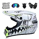 CC-helmet Weißer Hai - Motocross Helm Mit Brille Handschuhe Maske Motorrad Netz, Motorrad Crosshelm...