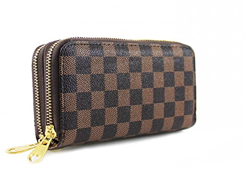 LeahWard® Damen Double Or Single Zip Kunstleder Geldbörsen Damen Brieftaschen Coin Taschen Geldbörsen (braun Double Zip Geldbörsen) (Damen Brieftasche Vuitton Louis)