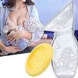 Bomba manual de lactancia de mano, bomba de leche manual de silicona con tapa 100% silicona de grado alimenticio BPA PVC, bomba de leche para ahorrar leche blanco blanco