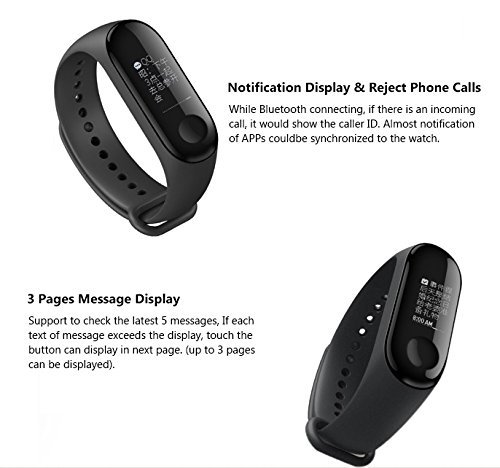 Xiaomi mi Band 3 Smart Wristband FitnessTracker HeartRate Monitor Instant  Message Incoming CallAlert Waterproof 5ATM OLED, Weather Forecast 30 Skills