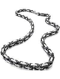 MunkiMix 5mm Acero Inoxidable Collar Bizantino Cadena Eslabones Link Enlace El Tono De Plata Negro Hombre